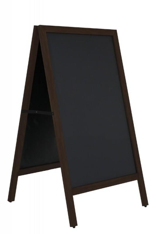 Cafe A-skilt / gadeskilt i mørkt træ med sort tavle