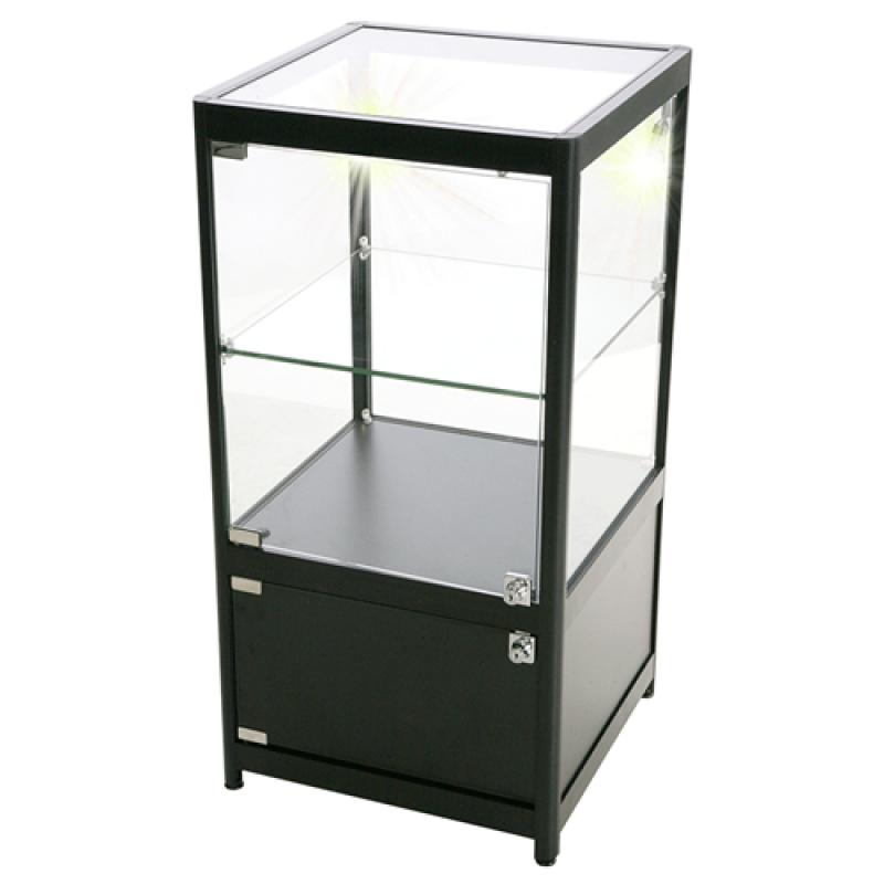 Glasmontre Counter Solo med underskab Sort-30