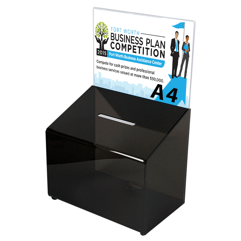 Sort forslagskasse, konkurrence boks A4