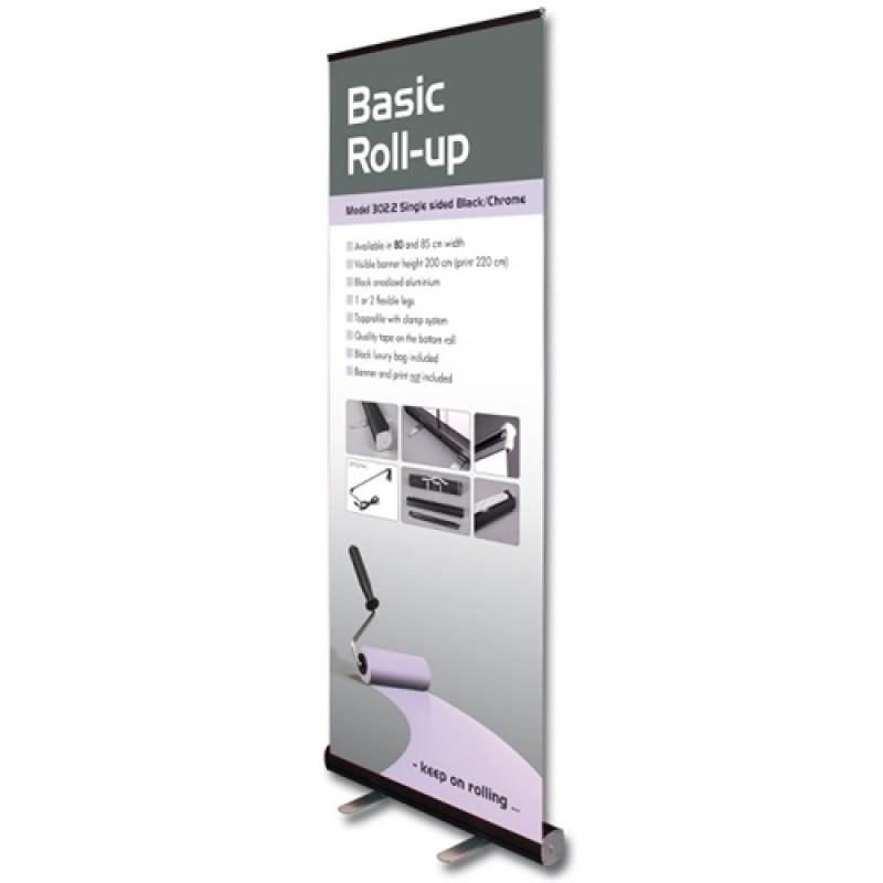 Basic Black/krom rollup, 85x200cm. inkl. banner, print og taske-30