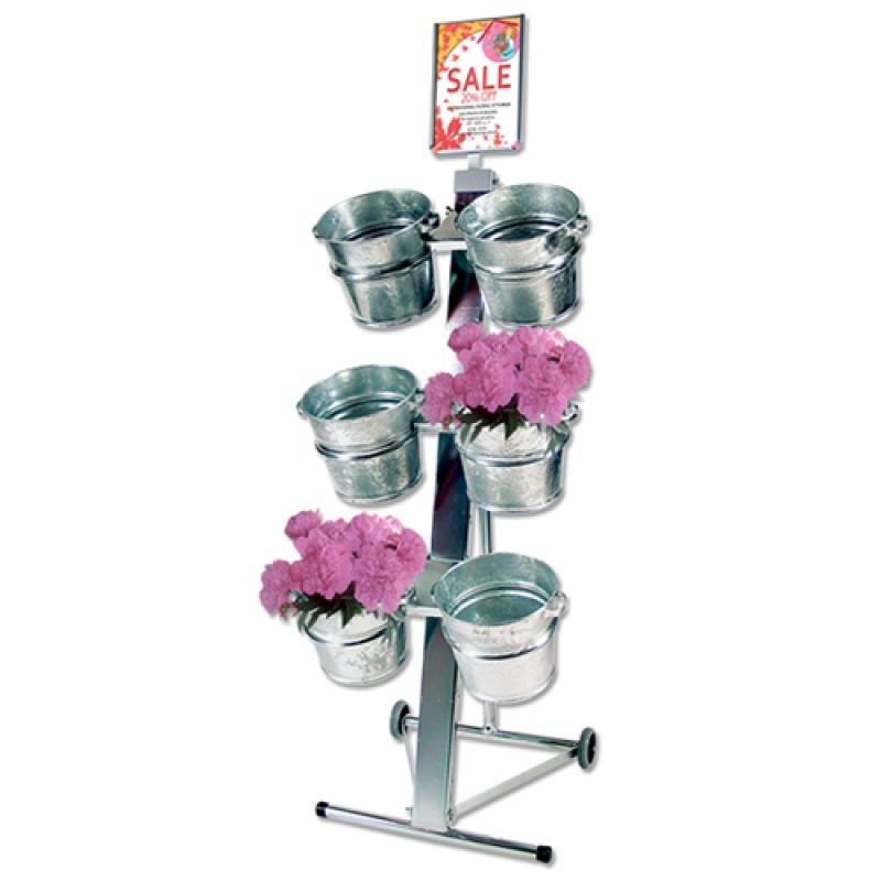 Blomsterstativ med 6 stk. zinkspande-30