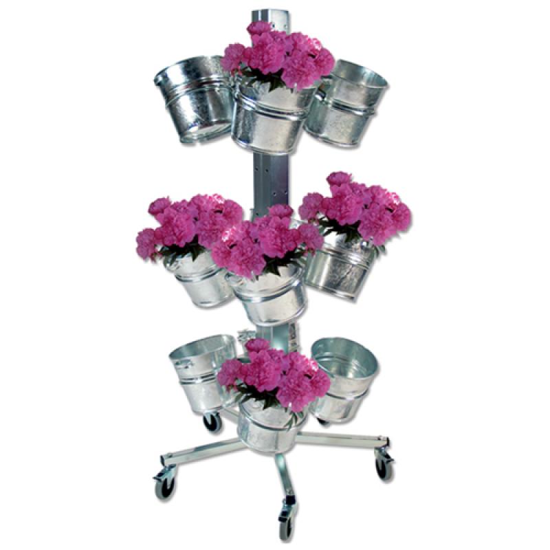 Blomsterstativ med 12 stk. zinkspande-30