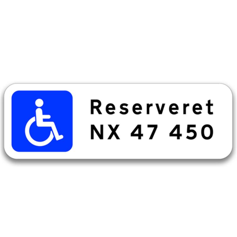 Handicap / Invalide P-skilt m/reg. nr.-30
