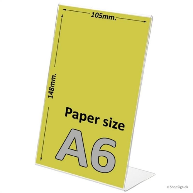A6 menukortholder i højformat - L-stand