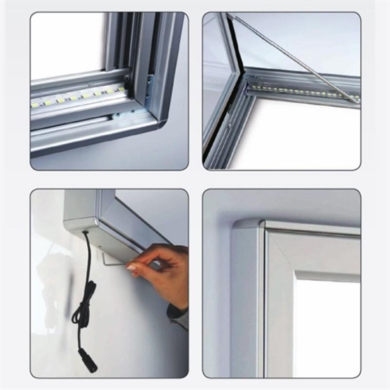 Opslagsskab med lås Magnetic LED lys 4*A4-30