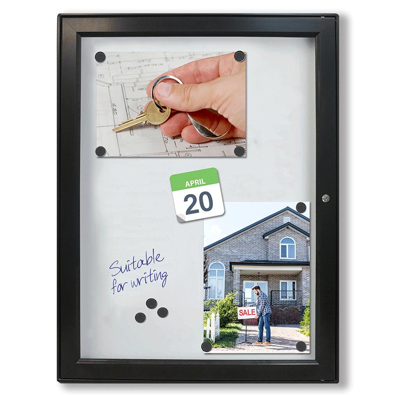 Sort opslagsskab med lås - Magnet-Whiteboard 6xA4