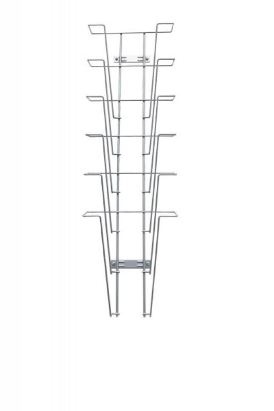 Væg brochureholder i metal tråd 6xA4