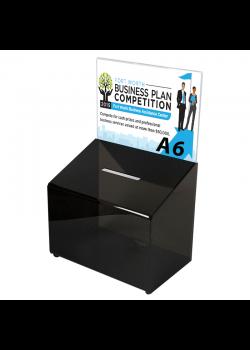 Sort forslagskasse, konkurrence boks A6
