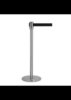 Afspærringsstolpe i sølv med sort bånd - 3 meter