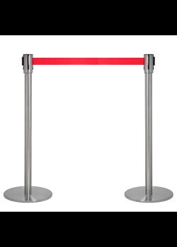 Afspærringsstolper - Kø kontrol med rødt bånd (sæt)