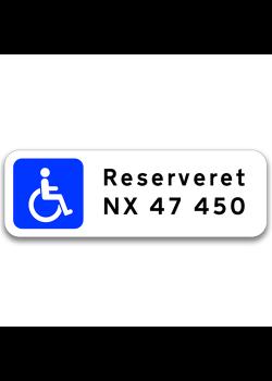 Handicap / Invalide P-skilt m/reg. nr.-20