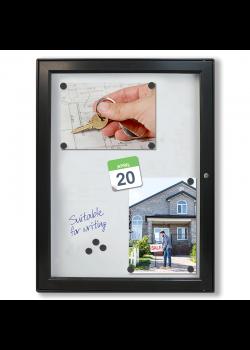 Sort opslagsskab med lås - Magnet-Whiteboard 9xA4
