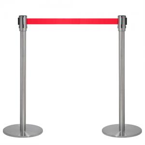 Afspærringsstolpe - Kø kontrol med rødt bånd (sæt)