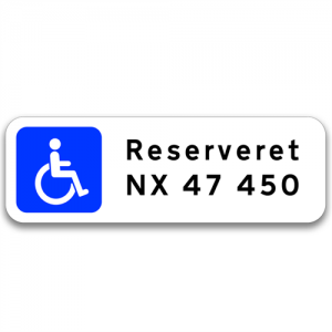 Handicap / Invalide P-skilt m/reg. nr.