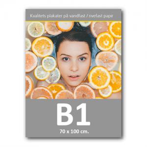 Plakat med print / tryk i B1 - 70x100cm.